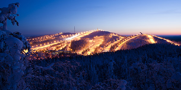 Ruka by night. (photo by: Patrick Forsblom)Photo: Patrick Forsblom